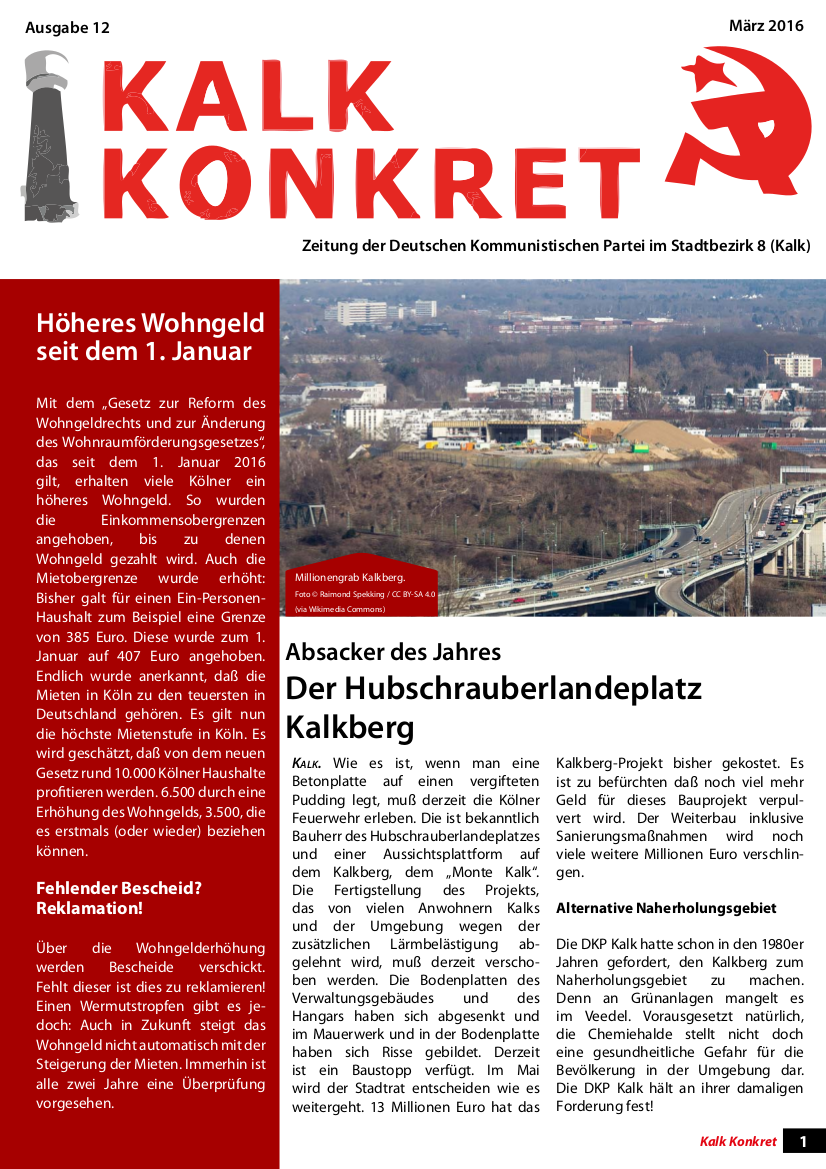 Faksimile: Kalk konkret, Ausgabe 12, März 2016, Titelseite.