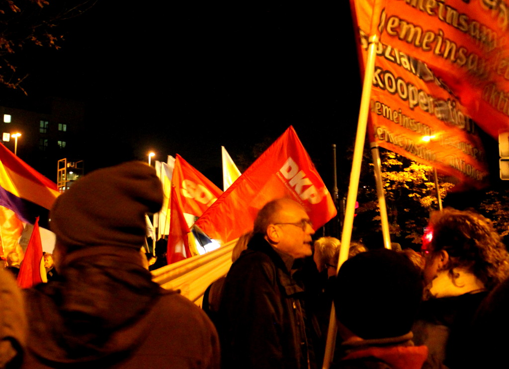 Demonstranten mit Fahnen und Plakaten.
