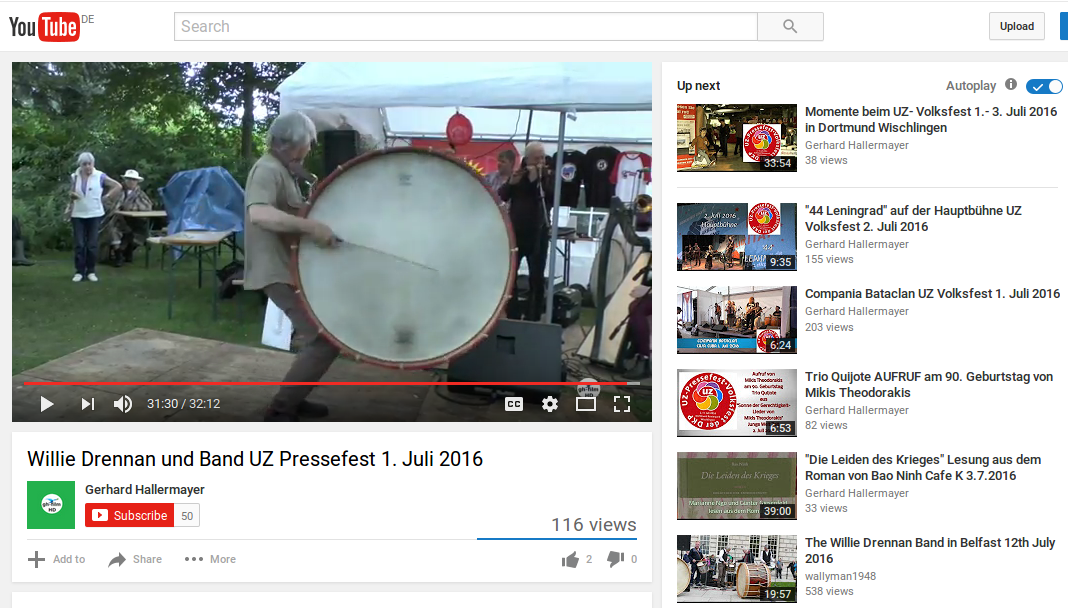 Willie Drennan mit Lambeg Drum